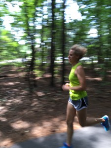 Mary Catherine holding a fast pace during a tempo run.