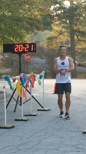 Joe as the 1st overall finisher of the 2014 Griddle Gallop 5K