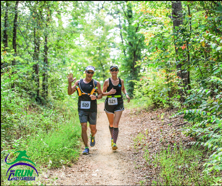 Enjoying a brief flat section of trail on Stringer's Ridge. Photo by: We Run Chattanooga