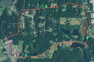 Satellite view of the New Hope Harvest Classic 5K course