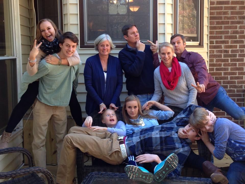 Domaleski family crazy Thanksgiving picture with my brother's family (2013).