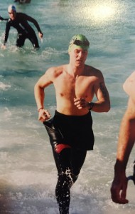 Joe exiting the swim in the 1999 Ironman Florida race.