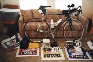 All of my gear laid out prior to the 2002 Ironman Florida race
