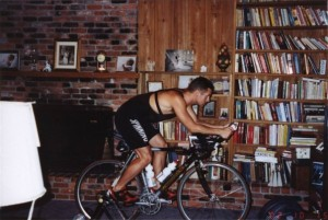 At home on the bike trainer putting in miles for Ironman