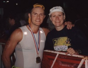 At the finish line of the 2002 Ironman Florida race - my last triathlon