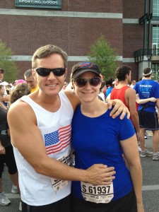 Joe and Mary Catherine getting ready to run the Peachtree Road Race together.