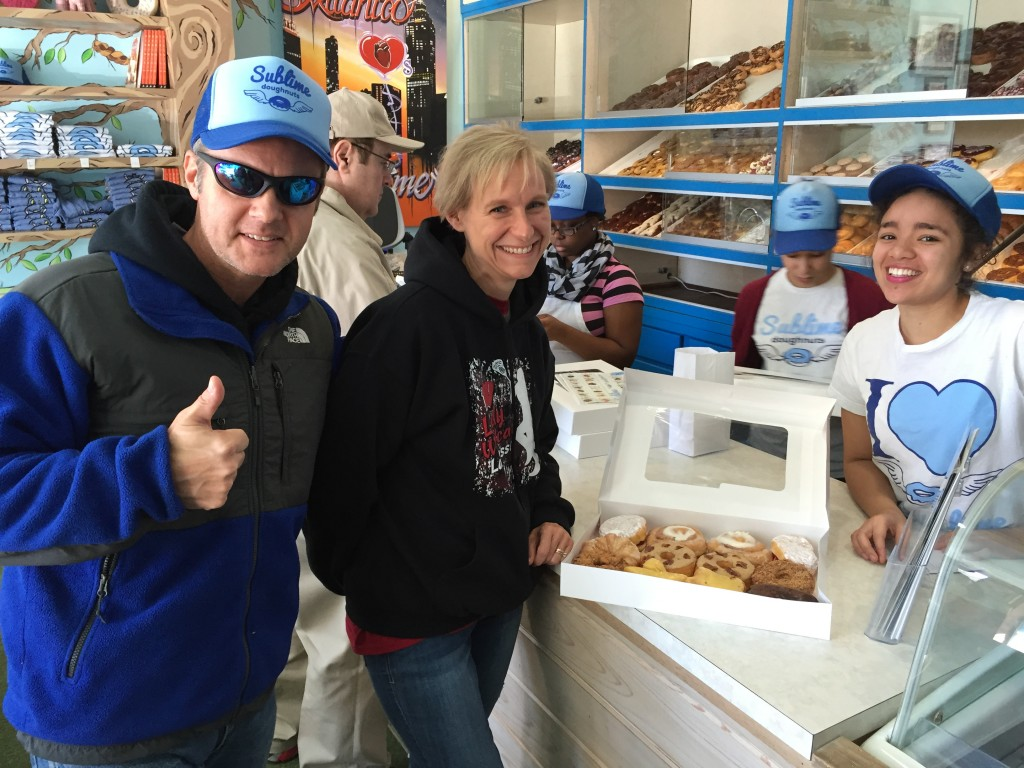 Joe & Mary Catherine at Sublime Doughnuts in Atlanta, GA. Joe won a free dozen on his birthday! (November 2015)