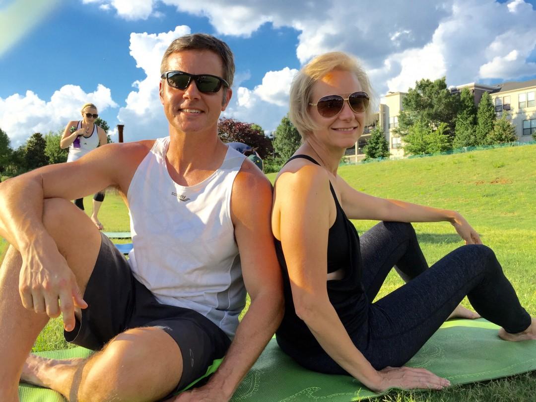 Joe and Mary Catherine enjoying Yoga in the Park at Old Fourth Ward Park in Atlanta