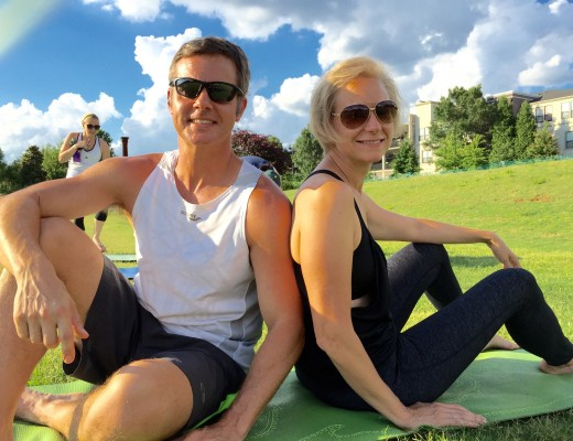 Joe and Mary Catherine enjoying Yoga in the Park at Old Fourth Ward Park in Atlanta