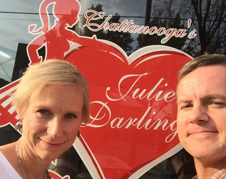 Mary Catherine and Joe check out Julie Darling Donuts after the 2015 CityTrail 30K race.