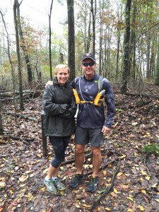 Mary Catherine and Joe at the trailhead for the West Kolb Farm trail