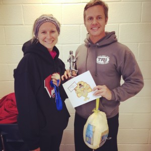 Mary Catherine and Joe at the SHM Turkey Trot 5K. Yes, Joe won a turkey!