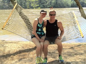 Mary Catherine and Joe enjoying a post-run moment along the Chattahoochee River.
