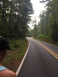 Mary Catherine focuses on the road ahead. Proper pacing is all about focus.