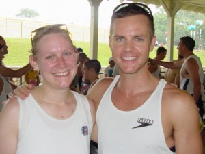 Mary Catherine and Joe at the PTCRC pavilion after the 2002 Peachtree Road Race