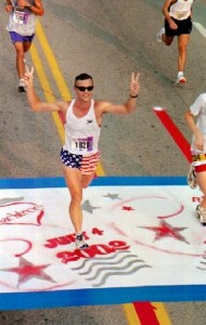 Running a Peachtree 10K PR time of 38:04 on 7/4/2002