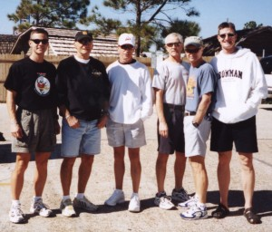 Joe, Bill McBride, Doug Dountz, Roy Robinson and others at the 2002 Ironman Florida race.