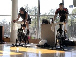 Tony Myers and Joe Domaleski logging those indoor miles at one of our famous YMCA spin-a-thons