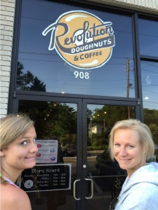 Our daughter Tori and Mary Catherine at Revolution Donuts in Decatur, GA