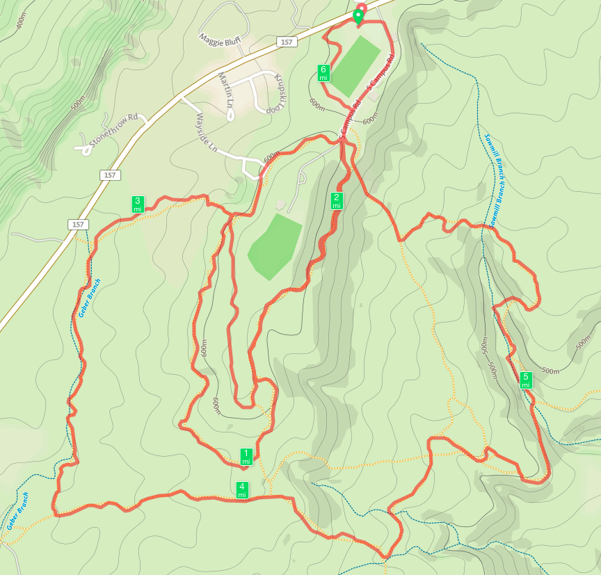 2015 Lookout Mountain 10K Trail Race Course