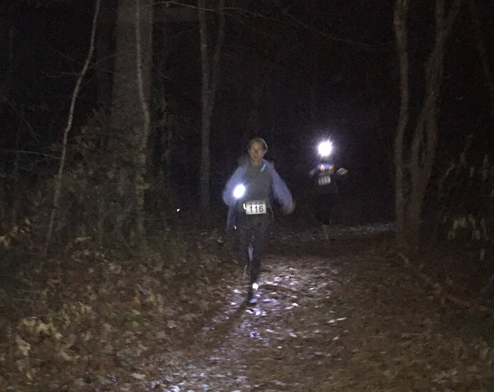 This is what it looks like running at night by flashlight. Lots of fun!