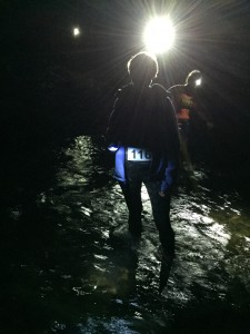 Crossing Smith Creek at night during the Helen Black Friday 5K