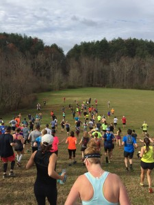 Runners enjoying the big downhill start at the Helen Holiday Half!