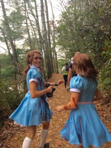 Winners of the Helen Half-marathon costume contest running the trails with us.