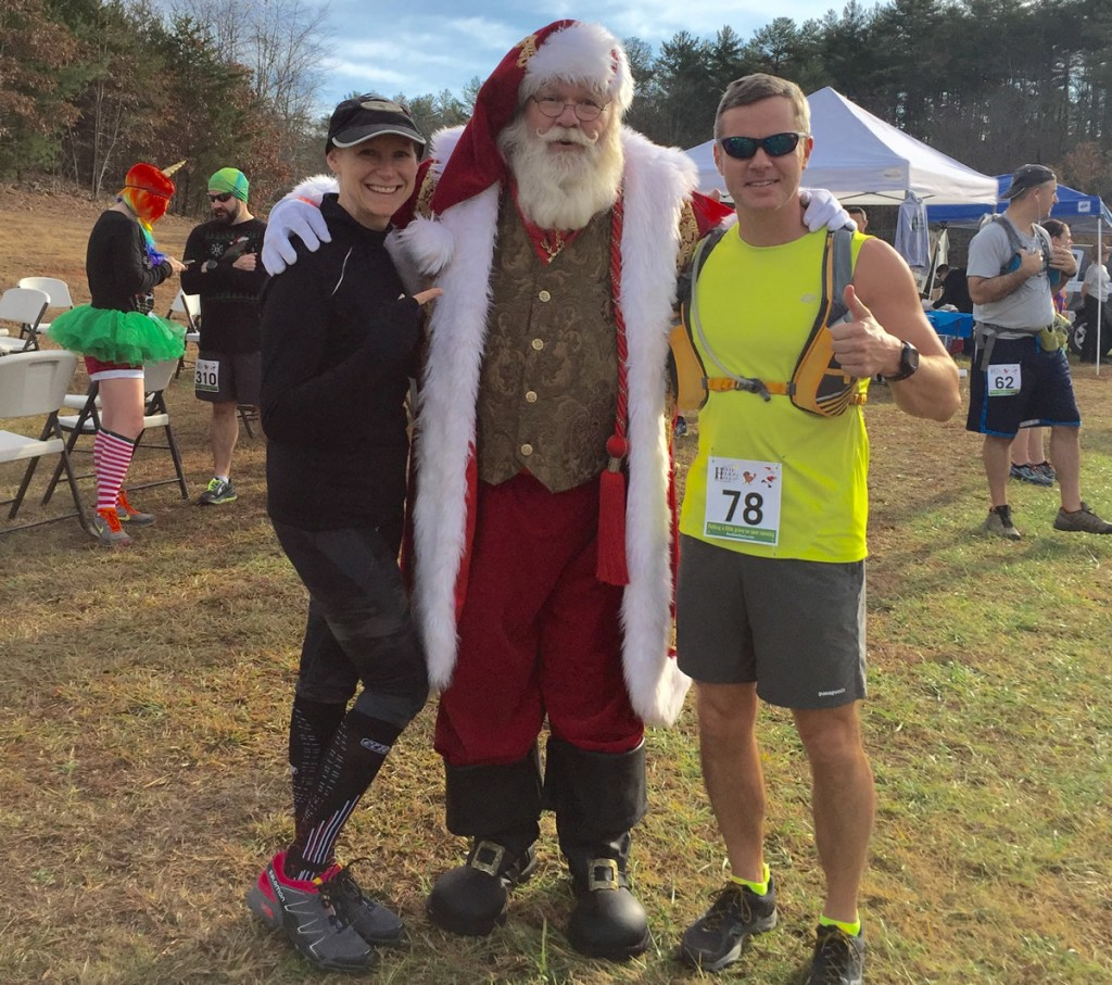 Mary Catherine and Joe with Santa Claus at the start of the Helen Holiday Half-marathon