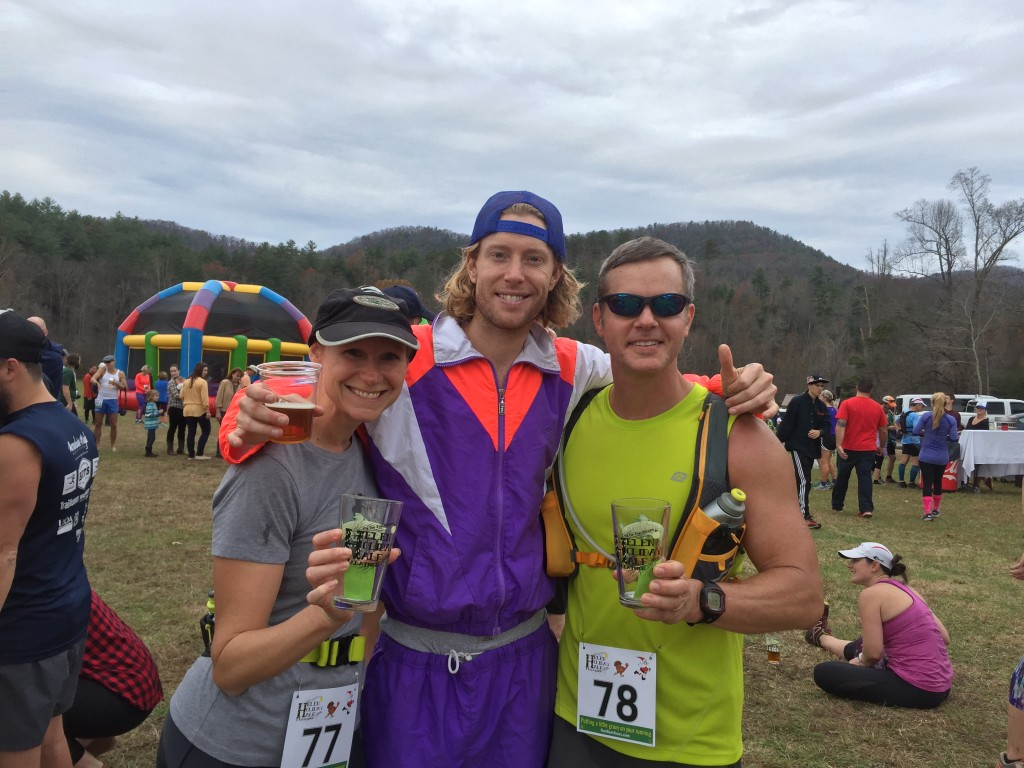 "Mary Catherine, Sean ""Run Bum"" Blanton, and Joe at the finish of the 2015 Helen Holiday Trail Half-marathon"