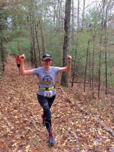 Mary Catherine happy to be heading back down hill during the Helen Half