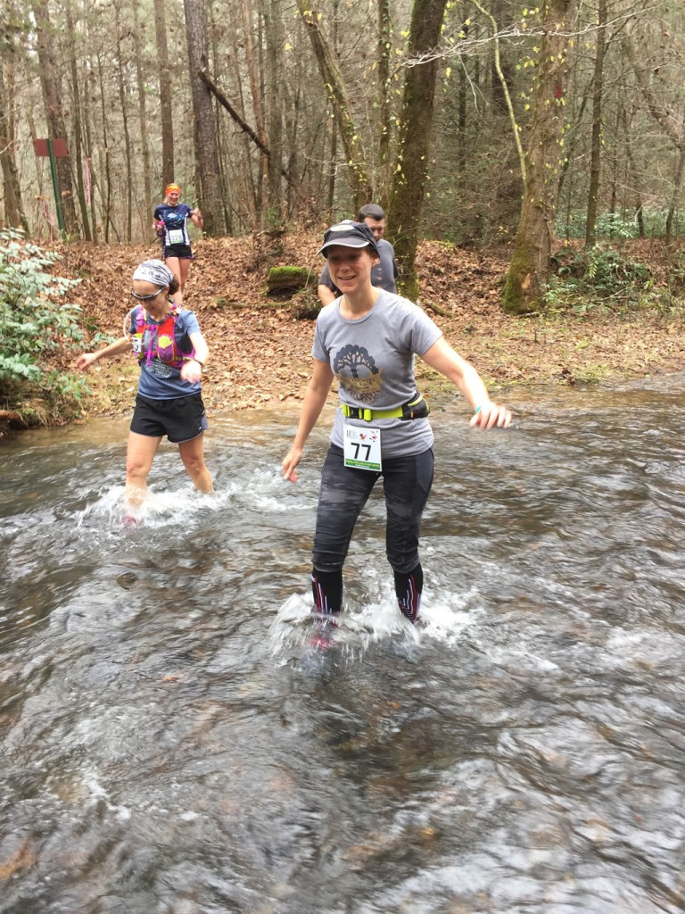 Mary Catherine is half-way across Smith Creek