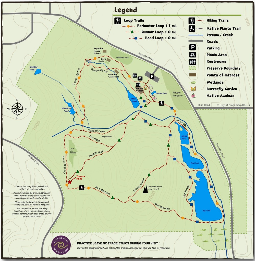 Reynolds Nature Preserve Official Trail Map (source: Reynolds Nature Preserve website)