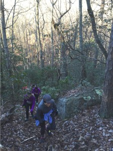 Mary Catherine climbs up Lookout Mountain during the final mile