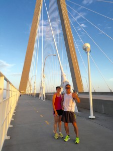 Mary Catherine and Joe on the Ravenel Bridge in Charleston, SC