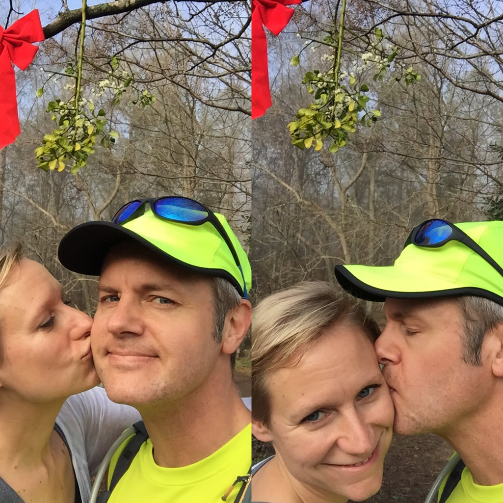 Mary Catherine and Joe under the mistletoe at the Reynolds House - Reynolds Nature Preserve