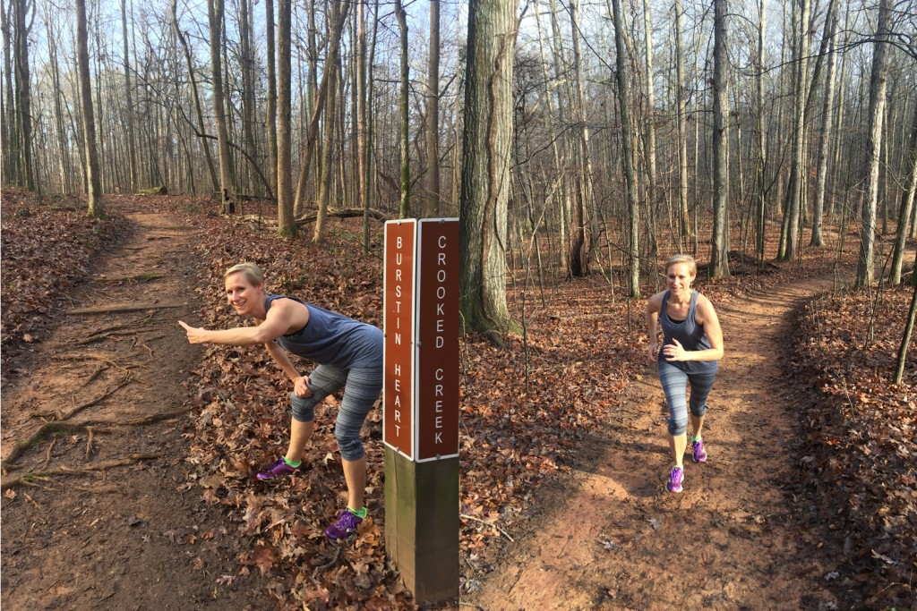 Mary Catherine encouraging me to run up the Burstin Heart trail at Reynolds Nature Preserve