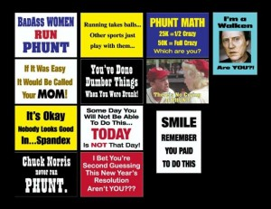 Some of the PHUNT trail signs we saw at the race by Trail Dawgs