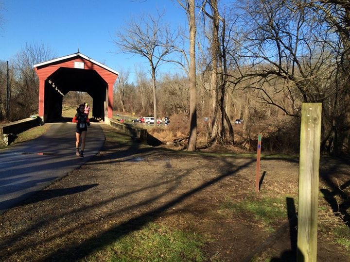Covered bridge and trail head near mile 7. (Photo by: Ryan Schannauer)