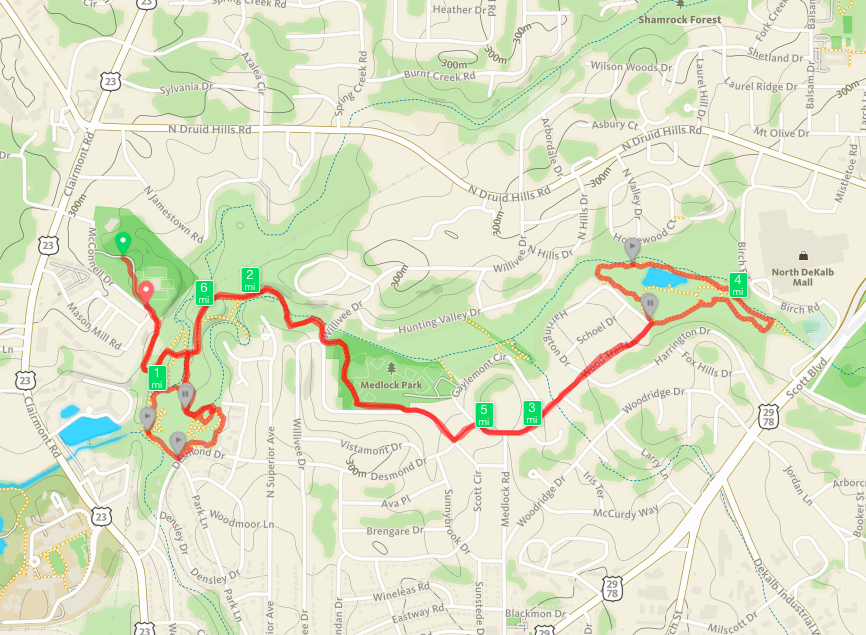 Our route along South Peachtree Creek from Mason Mill Park to Clyde Shepherd Nature Preserve and back