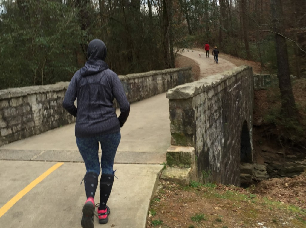 Mary Catherine prepares to cross Burnt Fork Creek on the South Peachtree Creek Trail