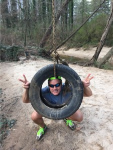 Joe acting silly at the tire swing in Clyde Shepherd Nature Preserve