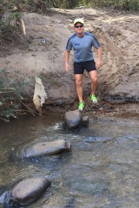 Leg strength helps me navigate water crossings like this one during trail runs