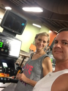 MC and Joe prepare for a treadmill workout