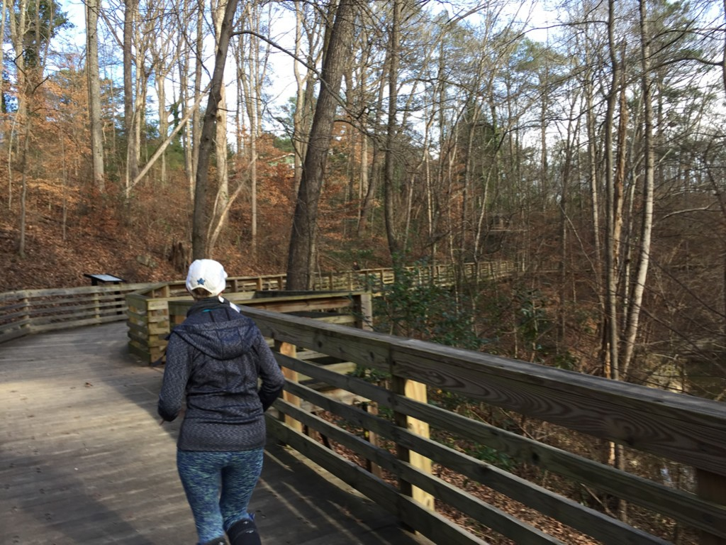 Mary Catherine on the boardwalk of the South Peachtree Creek trail