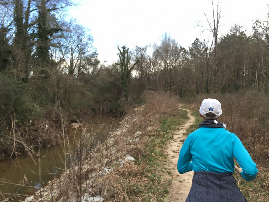 Mary Catherine running along the southern edge of South Peachtree Creek