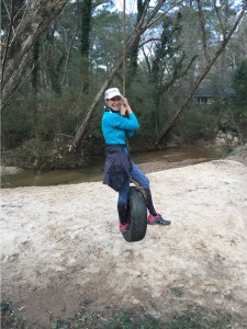 Mary Catherine enjoys the tire swing along South Peachtree Creek