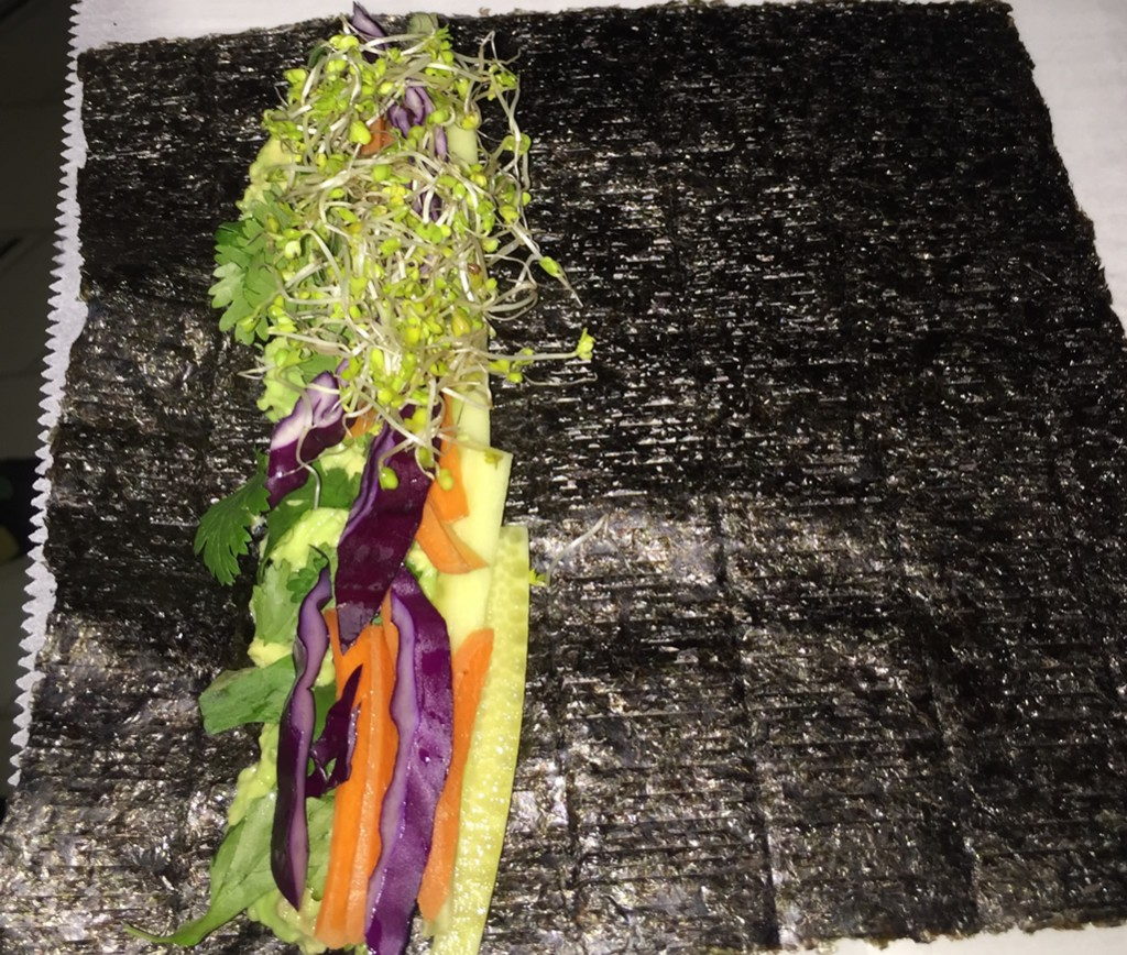 Vegetables and nori sheet ready for rolling