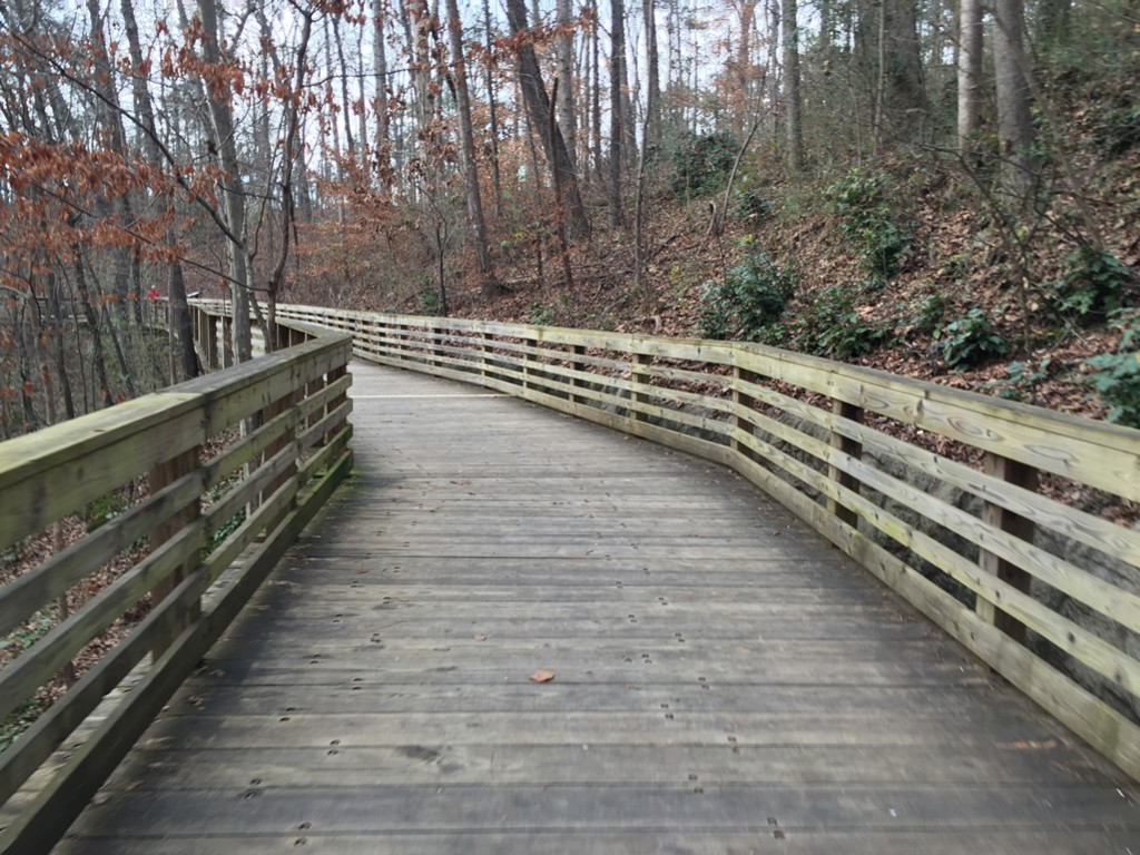 South Peachtree Creek trail board walk heading west