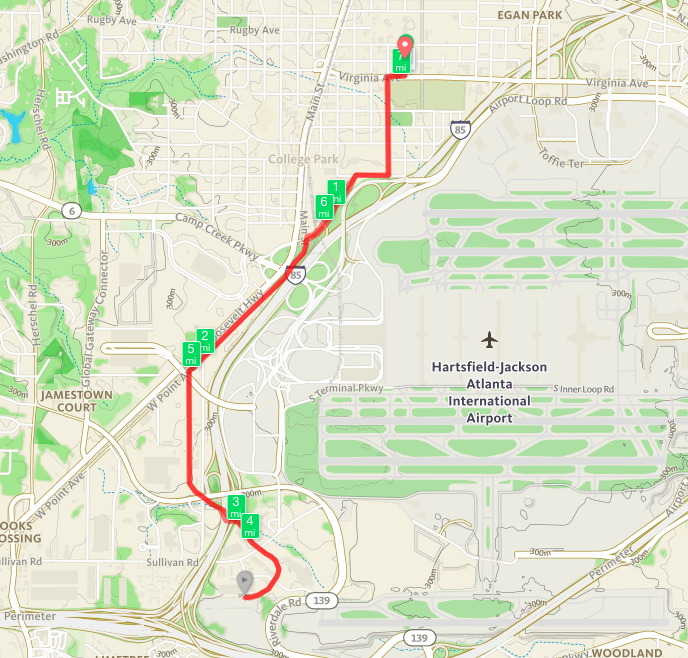 Map of my run from Woodward to the Phoenix Trail and back